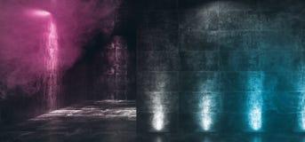Hyr rum glödande purpurfärgad blå konkret Grunge för mörkt tomt neon Hall With Smoke Fog And reflexioner dramatiska eleganta Sci  vektor illustrationer
