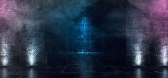 Hyr rum glödande purpurfärgad blå konkret Grunge för mörkt tomt neon Hall With Smoke Fog And reflexioner dramatiska eleganta Sci  royaltyfri illustrationer
