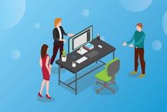 Hyra eller hyra begrepp för märkes- eller grafisk design med det tom skrivbordet och stol med den moderna isometriska designen fö royaltyfri illustrationer