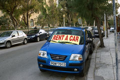 Hyra en bil i Rhodes Royaltyfria Bilder