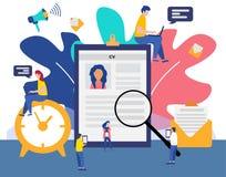 Hyra för jobb och online-rekryteringbegrepp med mycket små folktecken, byråintervju Jobbbyrå royaltyfri illustrationer