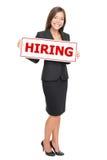 hyra jobb för affärskvinna Arkivfoton