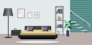 Hyra rum den inre vektorillustrationen av gammal eller modern lägenhetvardagsrum med möblemang Plan tecknad filmbanerdesign med s stock illustrationer