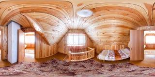 Hyra rum för en personer i ett trähusvandrarhem Sfäriska 360 panorama för 180 vr fotografering för bildbyråer