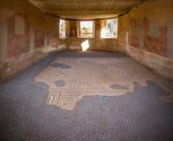 Hyra rum med det dekorativa roman historiska mosaikgolvet i Merida Arkivbilder