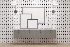Hyra rum med enheter, lampor och affischer, den vita väggen stock illustrationer