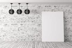 Hyra rum med lampor och tolkningen för affischbakgrund 3d royaltyfri illustrationer
