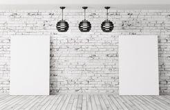 Hyra rum med tolkningen för lamp- och affischbakgrund 3d royaltyfri illustrationer