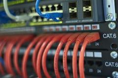 Hyra rum sammanlänkningen, sammankopplade kablar, kategori 6, strömbrytare, och routers i kommunikationerna hyr rum Arkivfoto