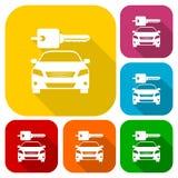 Hyra symboler för en biltrans.design ställer in med lång skugga royaltyfri illustrationer