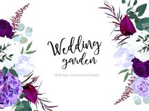 Hyrangea пурпура и фиолетовых розы, белых и темносинего бесплатная иллюстрация