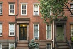 Hyreshusar för Greenwich by, New York City Arkivbilder