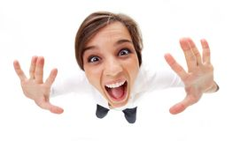 Hysteric woman Stock Image
