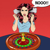Hysteric Woman Behind Roulette Table. Casino Gambling. Pop Art Royalty Free Stock Image