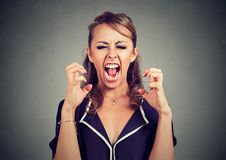 Hysterical angry frustrated woman screaming Stock Photography