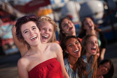 Hysterical Group of Girls Laughing Stock Photo