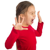 Hysterical. Little girl is yelling hysterically royalty free stock image