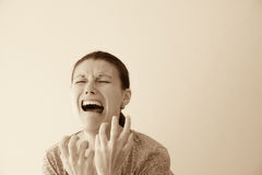 Hysterical woman Royalty Free Stock Images