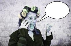 Hysterical woman phone Stock Photos