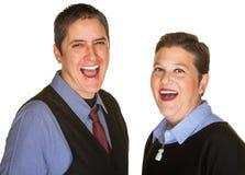 Hysterisches Paar-Lachen Stockbild