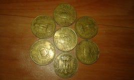 hystorical Indiër 20 paise muntstukken Stock Afbeelding