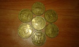 Hystorical indian 20 paise coins. Indian coins of 1969 & 1970 Stock Image