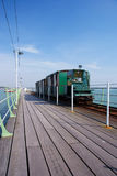 Hythe Pier 2. Image looking down Hythe Pier with train Stock Images