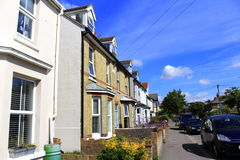 Hythe town street Kent England. Row of traditional terraced residential houses Hythe town on nice summer day Kent England United Kingdom Royalty Free Stock Photo