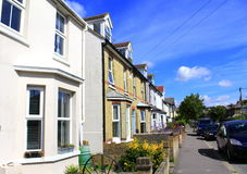 Hythe town street Kent England. Row of traditional terraced residential houses Hythe town on nice summer day Kent England United Kingdom Stock Photo