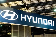 HYUNDAI car commercial brand logos. Hyundai is one of the famous cars manufactures in the world from South Korea. SINGAPORE - JANUARY 12, 2019: HYUNDAI car stock images