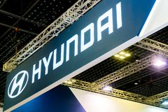 HYUNDAI car commercial brand logos. Hyundai is one of the famous cars manufactures in the world from South Korea. SINGAPORE - JANUARY 12, 2019: HYUNDAI car royalty free stock photography