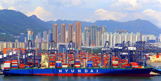 Hyundai cargo vessel or ship Stock Photos