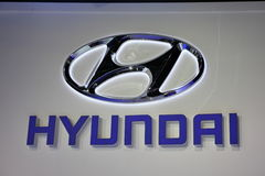 Hyundai Company Logo. FRANKFURT - SEPT 24: The Hyundai Company Logo at the 64th IAA (Internationale Automobil Ausstellung) on September 24, 2011 in Frankfurt Stock Photos