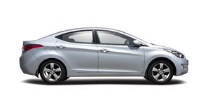 Hyundai Elantra side view isolated on white Stock Photos