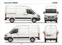 Hyundai H350 L2H2 2017 Delivery Cargo Van. Detailed template AI Format for design and production of vehicle wraps scale 1:10 Stock Photo