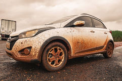Hyundai HB20 X car all covered with dirt royalty free stock photos