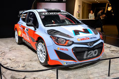 Hyundai i20 WRC motor car. Pictured at the Geneva motor show in Switzerland in 2014 Royalty Free Stock Photo