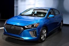 Hyundai Ioniq 2016 NYIAS. NEW YORK - MARCH 23: A Hyundai Ioniq shown at the 2016 New York International Auto Show during Press day,  public show is running from Royalty Free Stock Images