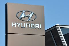 Hyundai logotype on a building. Vilnius, Lithuania - May 16: Hyundai logotype on May 16, 2018 in Vilnius Lithuania. Hyundai is a South Korean Multinational Royalty Free Stock Photography