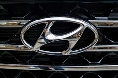 Hyundai metallic emblem close-up. Nowy Sacz, Poland, January 15, 2019: Hyundai sign on a car grilll. Hyundai Motor Company is a famous South Korean multinational stock photo