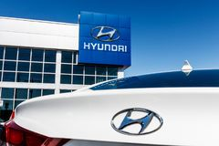 Indianapolis - Circa March 2018: Hyundai Motor Company Dealership. Hyundai is a South Korean Automotive Manufacturer II. Hyundai Motor Company Dealership Royalty Free Stock Photography