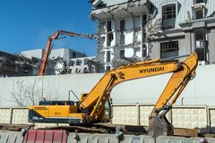 Hyundai Robex 330 lc 95 Crawler Excavator on a construction site stock images