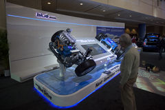 Hyundai's Hybrid Blue Drive tech at 2010 Autoshow Royalty Free Stock Photo