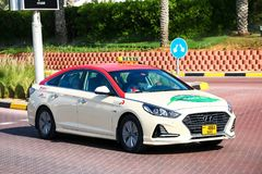 Hyundai Sonata. Dubai, UAE - November 15, 2018: Taxi car Hyundai Sonata in the city street stock photos