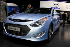 The Hyundai Sonata Hybrid. Displayed at the 2012 Paris Motor Show on October 14, 2012 in Paris Stock Images