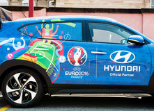 Hyundai Tucson, Official Partner  UEFA trophy Royalty Free Stock Photos