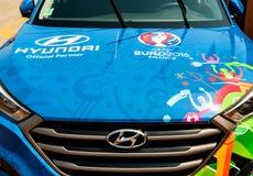 Hyundai Tucson, trofeo oficial de la UEFA del socio Fotografía de archivo libre de regalías
