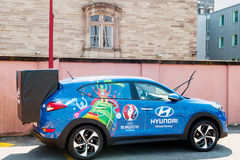 Hyundai Tucson, voiture officielle d'associé de trophée de l'UEFA Photos libres de droits
