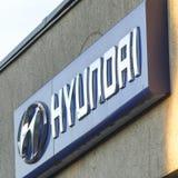 Hyundai vehicle local distribution. Berlin, Germany - June 26, 2018: Hyundai car dealership exterior. The Hyundai Motor Company is a South Korean multinational royalty free stock image