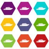Hyvla hexahedron för färg för powerboatsymbolsuppsättning stock illustrationer